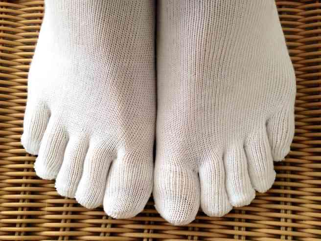 White Running Toe Socks