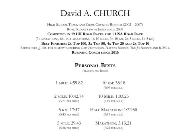 David's Running CV part 1